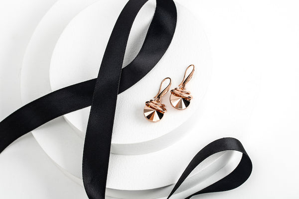 Double Rose Gold Spring Drop Earrings