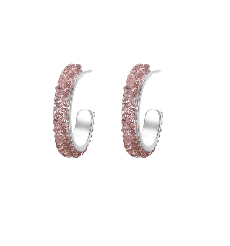 Crystal Encrusted Hoop Earrings