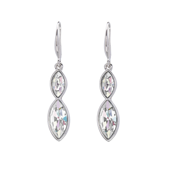 Dual Crystal Marquis Drop Earrings
