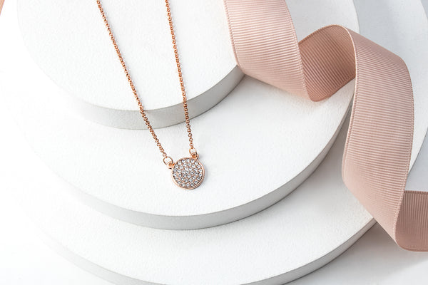 Rose Goldtone Crystal Pave Disc Pendant Necklace