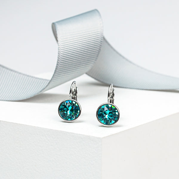 Light Turquoise Crystal Leverback Earrings