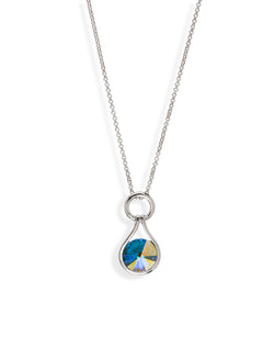 Aurora Borealis Crystal Open Teardrop Pendant Necklace