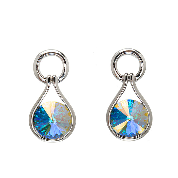 Aurora Borealis Crystal Open Teardrop Earrings