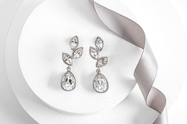 Silvertone & Clear Crystal Tri-Leaf Teardrop Earrings