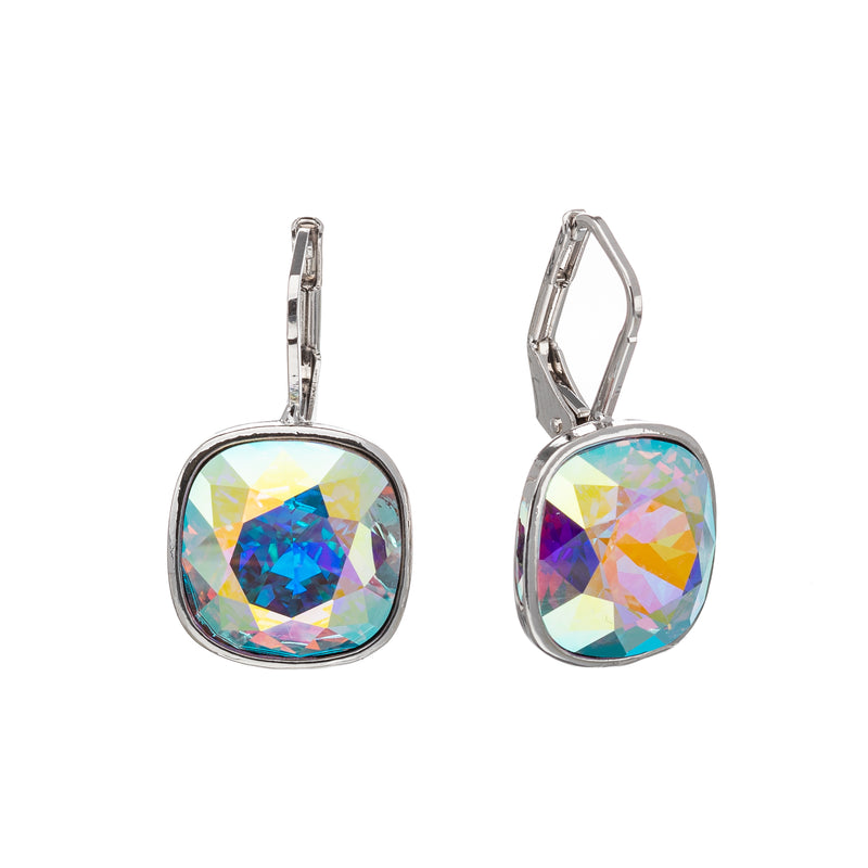 Cushion Cut Crystal Leverback Earrings