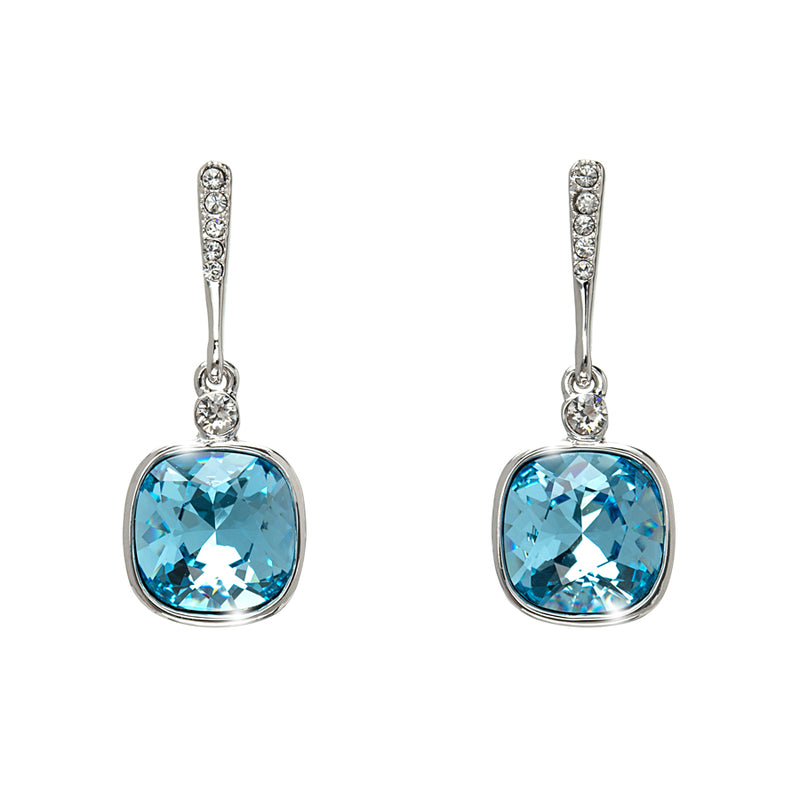 Cushion Cut Crystal Drop Earrings
