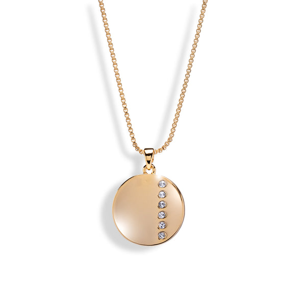 Goldtone Disc Pendant Necklace with Dainty Crystals
