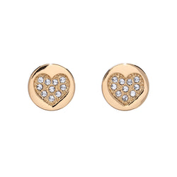 Goldtone & Crystal Pave Heart Stud Earrings