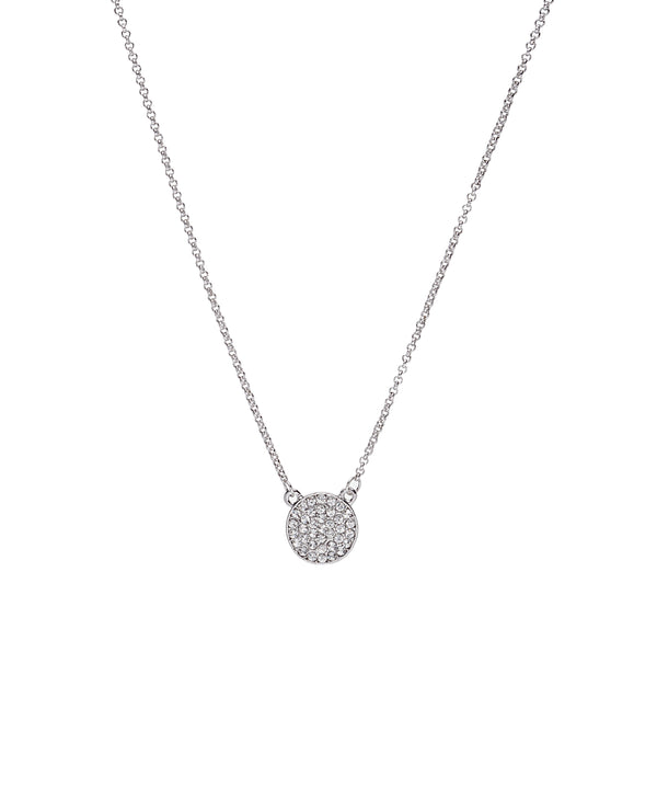 Silvertone Crystal Pave Disc Pendant Necklace