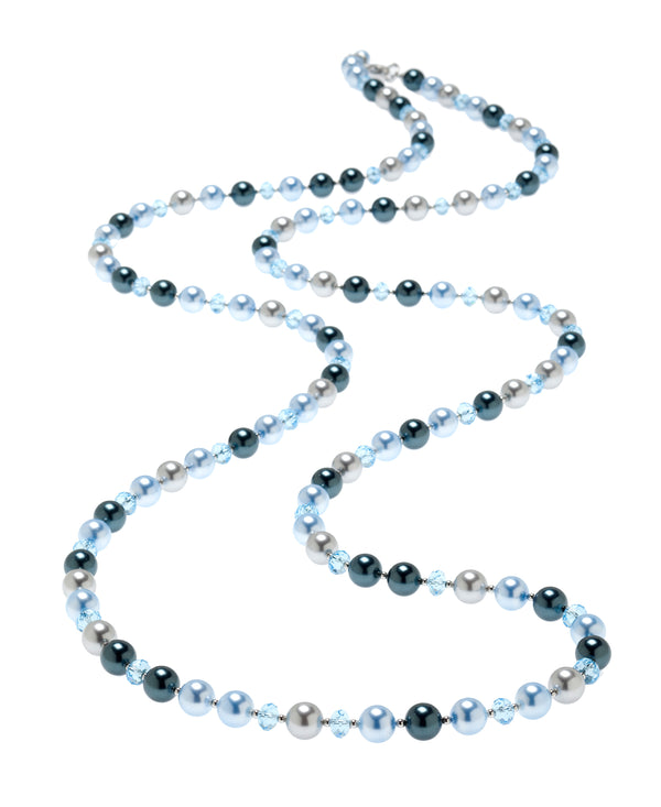 Gradient Pearl & Crystal Station Necklace