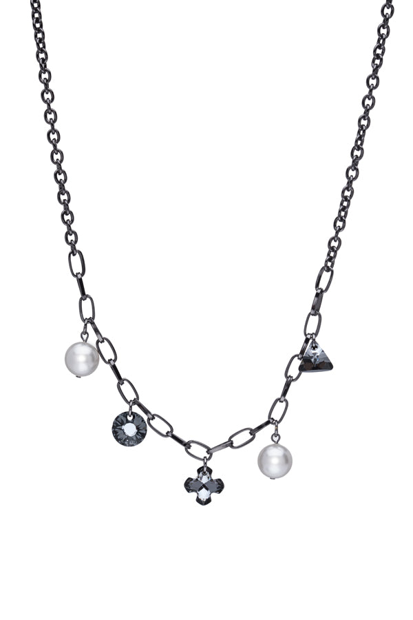 Gray Sterling Silver Charm Necklace with Crystals & Pearls
