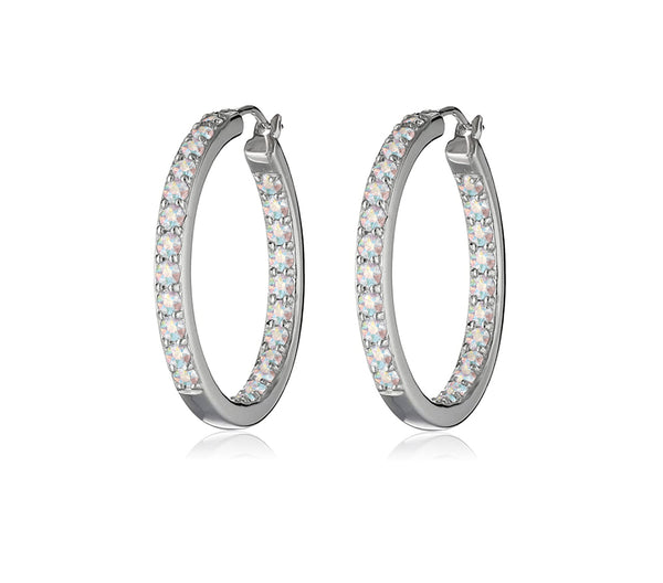 Dual Sided Crystal Hoop Earrings