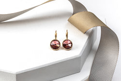 Goldtone & Antique Pink Crystal Leverback Earrings