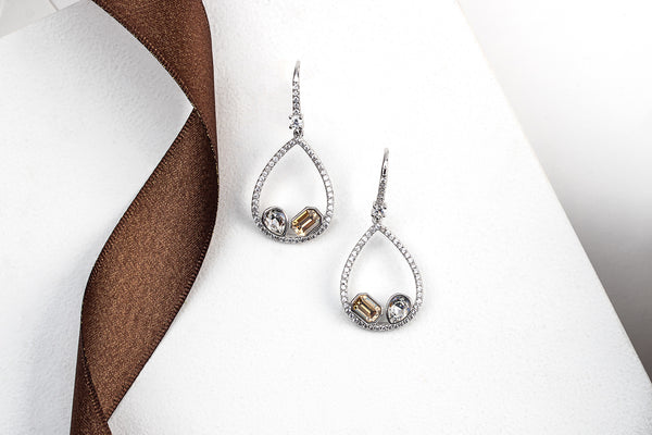 Clear & Champagne Open Teardrop Crystal Earrings