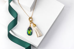 Crystal Teardrop & Tassel 2 in 1 Long Pendant Necklace