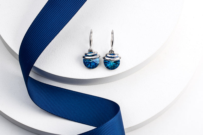 Bermuda Blue Spring Drop Crystal Earrings