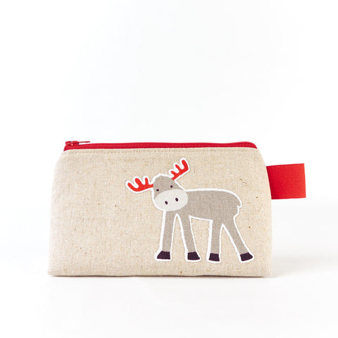 Animal Cosmetic Bag with Moose and Bird