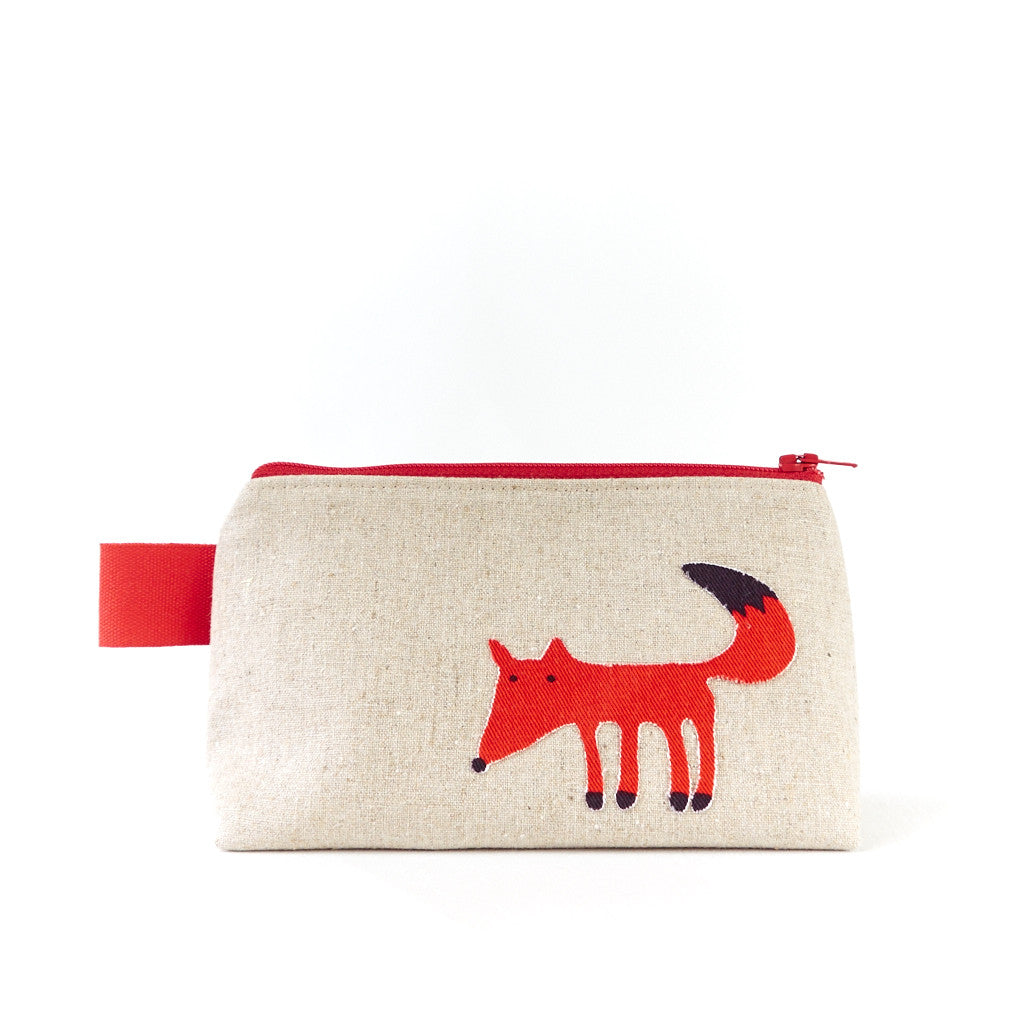 Small Red Fox Make Up Bag - Toiletry Bags - Song of the Seam - 1