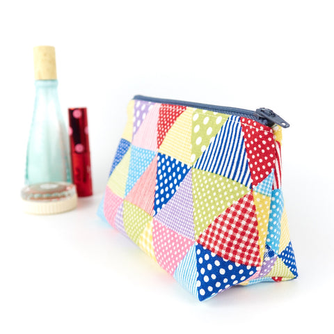 Small Linen Makeup Bag in Bright Triangle Print