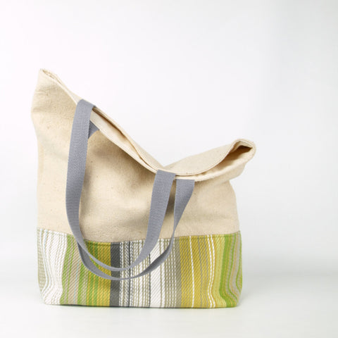 Large Market Tote Bag in Striped Linen