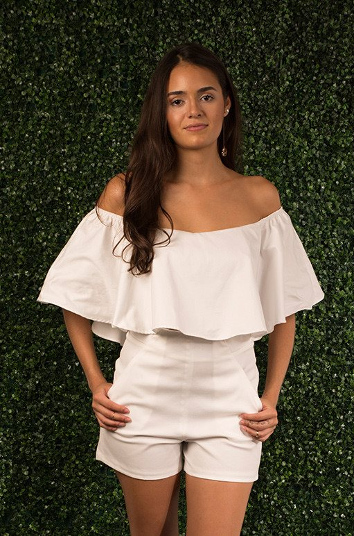 Ava Ruffled Off Shoulder Top ~ White - L U X U R Y . I A - 1
