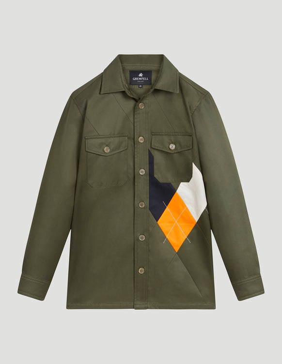 Argyle Overshirt Grenfell Cloth Military Green
