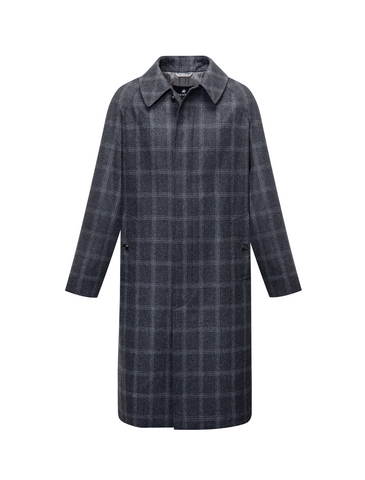 Grenfell x The Rake Cavendish Coat in Grey Windowpane Check in VBC Flannel Wool.