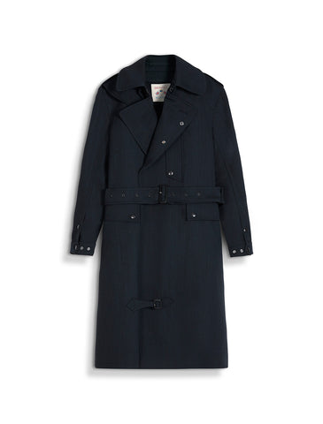 Despatch Riders Coat Virgin Wool Herringbone in Navy