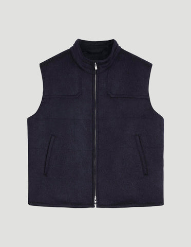 The Gilet in Navy Alpaca Wool Mix