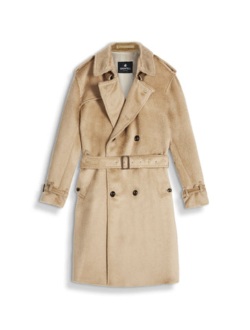 London Trench Coat in Alpaca Virgin Wool Mix Camel