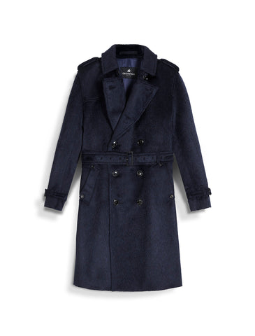 London Trench Coat in Alpaca Virgin Wool Mix Navy