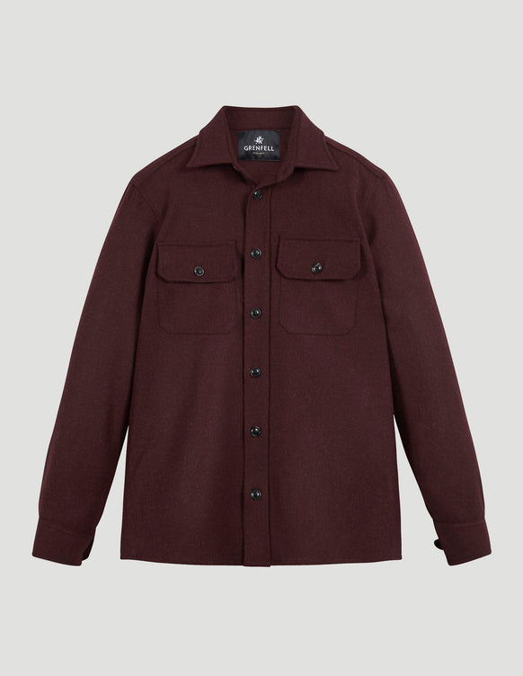 Overshirt Merino Wool Burgundy