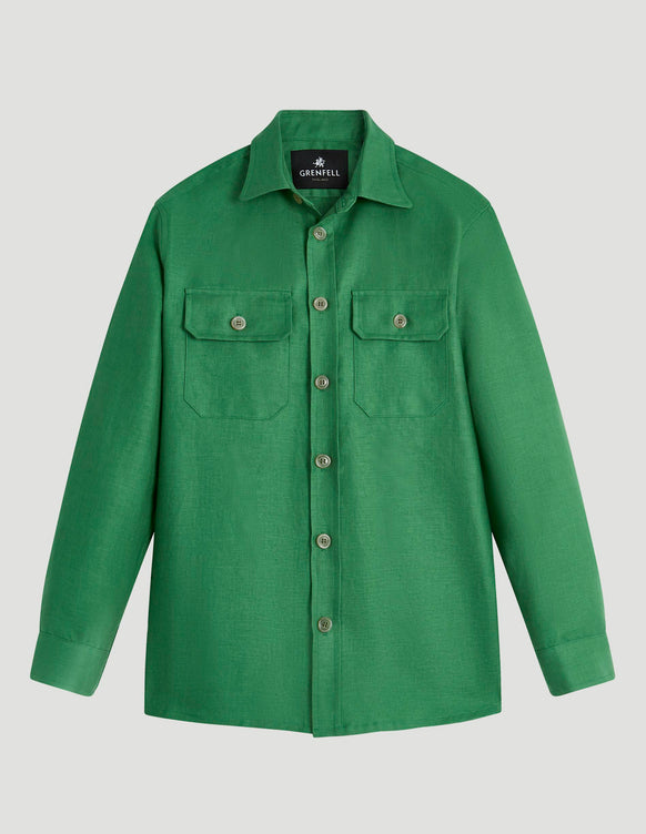 Overshirt Linen Emerald Green