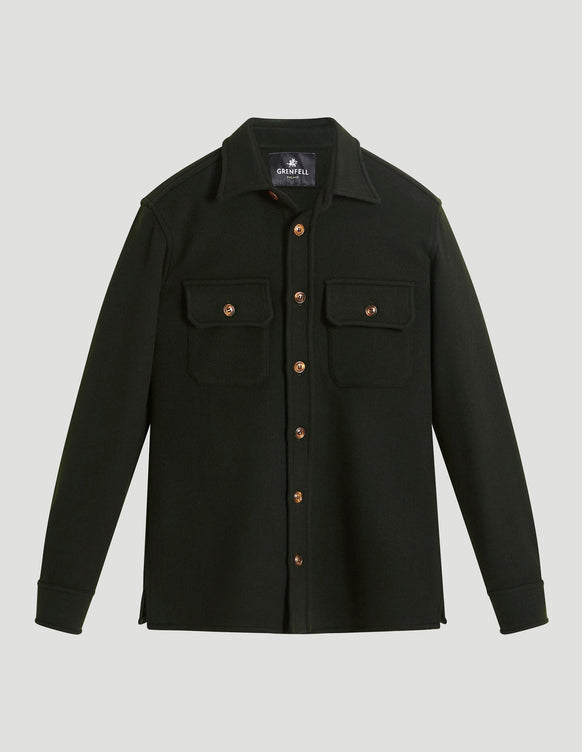 Overshirt Double Faced Wool Green