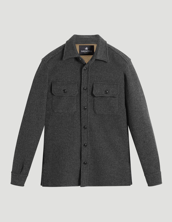 Overshirt Double Faced Wool Grey & Camel