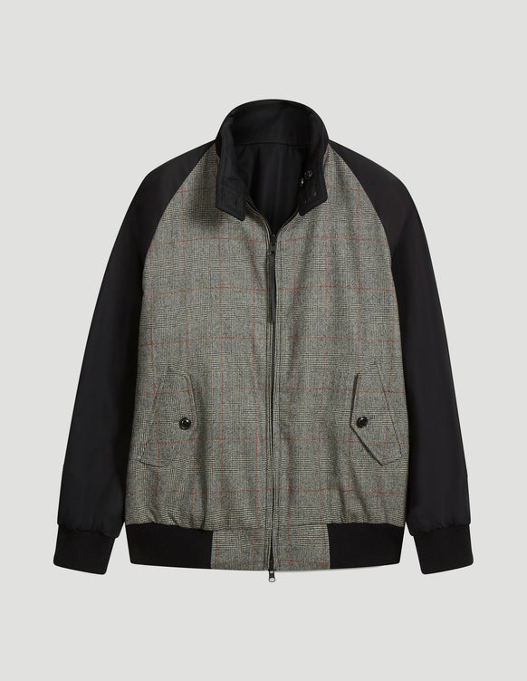 Reversible Harrington Grenfell Cloth Black and Prince of Wales Check