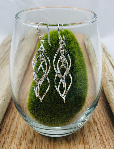 Triple Open Leaf Earrings