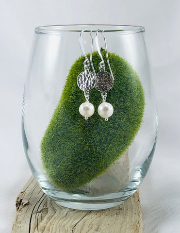 Hammered Circle and Gemstone Earrings