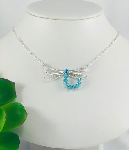 Dragonfly and Swarovski Crystal Necklace
