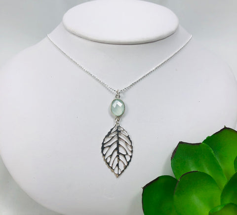 Modern Leaf & Gemstone Necklace