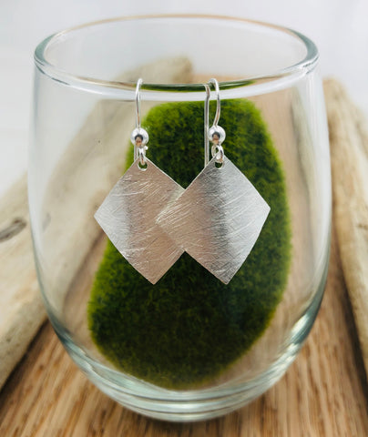 Etched Silver Diamond Shape Earrings