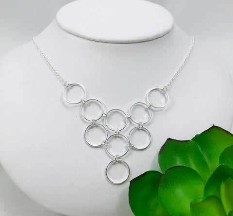 Multi circle bib necklace