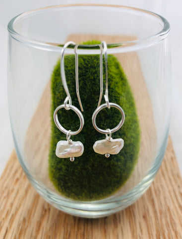 Freshwater Biwa pearl earrings