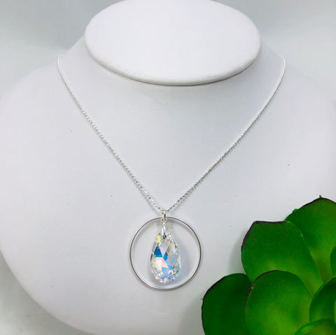 Pear Shaped Swarovski & Circle Necklace Large