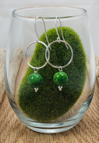 Circle & Gemstone Earrings