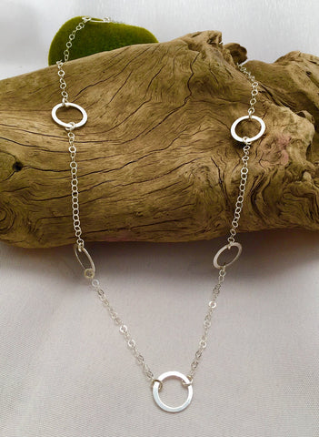 Long Sterling circles necklace