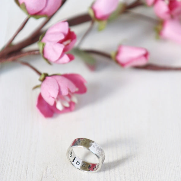 Empowering Jewellery collection for creatives Blossom silver ring with handmade blossom by Papertree