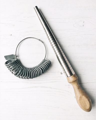 How to measure your finger to buy a ring online. Use a Wheatsheaf ring stick and gauge used by jewellers to measure ring sizes