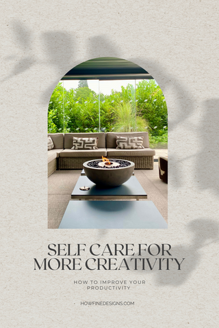Self care for productivity. Image of spa with firepit and comfortable outside seating