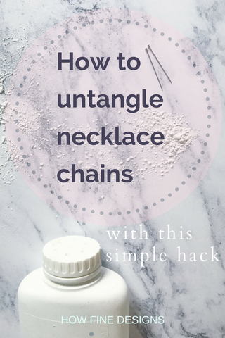 How to untangle necklace chains Pinnable image for Pinterest